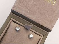 Золотые серьги пусеты с бриллиантами 1.038 ct