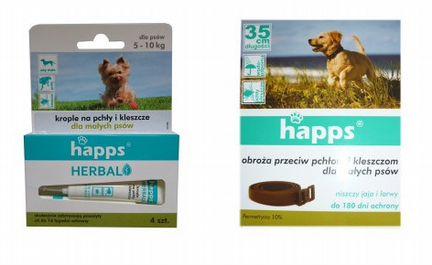 Капли+ошейник для собак от клещей блох Happs