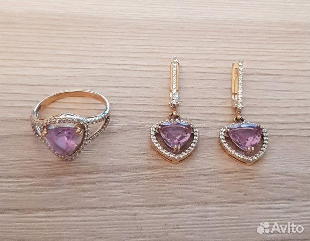 Золотой набор-серьги и кольцо купить в Свердловской области на Avito ... c408d2d89f0
